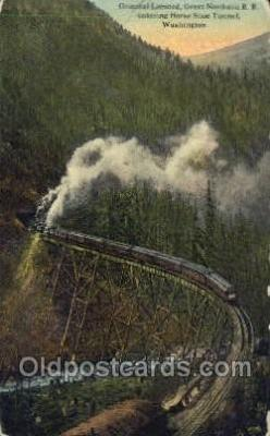 tra006673 - Oriental Limited, Horseshoe Tunnel, WA USA Train, Trains, Locomotive, Old Vintage Antique Postcard Post Card