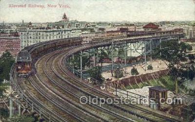 tra006674 - Elevated Railway, New York, NY USA Train, Trains, Locomotive, Old Vintage Antique Postcard Post Card