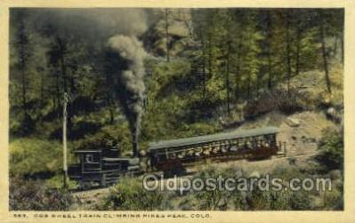 tra006693 - Cog Wheel Train, Pikes Peak, CO USA Train, Trains, Locomotive, Old Vintage Antique Postcard Post Card