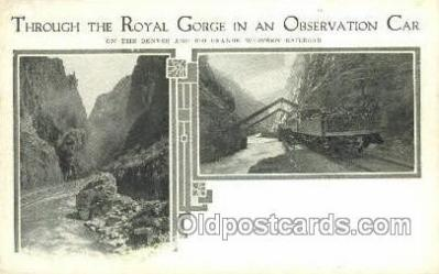 tra006695 - Observation Car, Royal Gorge, CO USA Train, Trains, Locomotive, Old Vintage Antique Postcard Post Card