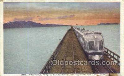 tra006716 - Streamliner, Great Salt Lake, UT , Utah, USA Train Railroad Station Depot Postcards Post Cards