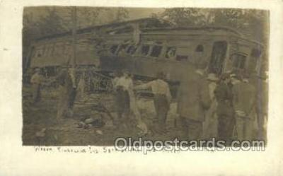tra006780 - Real Photo - Kingsland, Indiana, USA 43 people Killed Sept 21st, 1910 Train Railroad Station Depot Postcards Post Cards