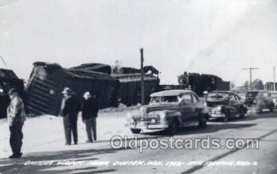 tra006783 - Omaha Wreck , Chetek, WI, Wisconsin, USA Train Railroad Station Depot Postcards Post Cards