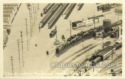 tra006786 - Real Photo - Flood Waters RR Yards, Portland, OR, Oregon, USA Train Railroad Station Depot Postcards Post Cards