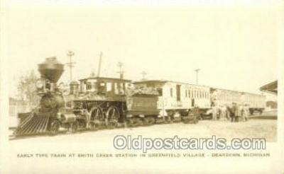 tra006789 - Early Type Train Smith Creek Station, Dearborn, MI, Michigan, USA Train Railroad Station Depot Postcards Post Cards