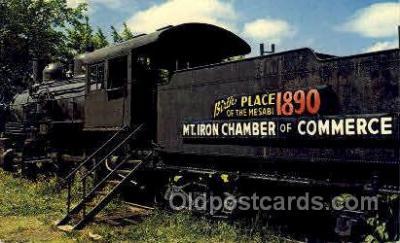 trn001004 - Mt. Iron Minnesota Train, Railroad, Locomotive, Postcard Postcards