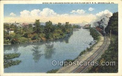 trn001029 - Erie Flyer, Greenville, PA, USA Train Trains, Postcard Postcards