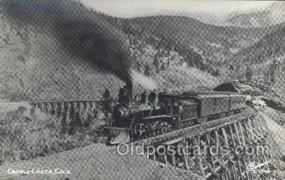 trn001034 - Cripple Creek Shore Line, CO, USA Train Trains, Postcard Postcards