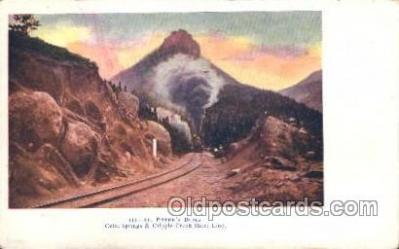 trn001035 - St. Peter's Dome, Colorado Springs, CO Train Trains, Postcard Postcards