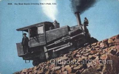 trn001041 - Cog Road Engine, Pike Peak, CO, USA Train Trains, Postcard Postcards