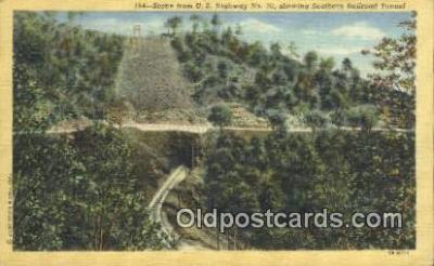 trn001072 - Us Highway No70 Showing Southern Railroad Tunnel Trains, Railroads Postcard Post Card Old Vintage Antique