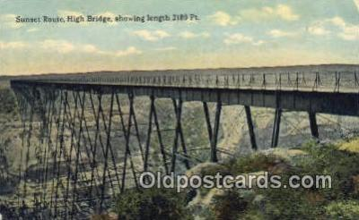 trn001078 - Sunset Route On High Bridge, Texas, TX USA Trains, Railroads Postcard Post Card Old Vintage Antique