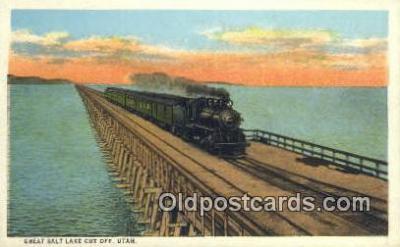 trn001080 - Great Salt Lake Cut Off, Utah, UT USA Trains, Railroads Postcard Post Card Old Vintage Antique