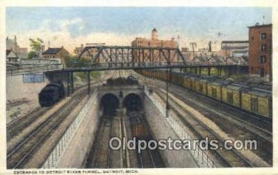 trn001097 - Entrance To Detroit River Tunnel, Detroit, Michigan, MI USA Trains, Railroads Postcard Post Card Old Vintage Antique