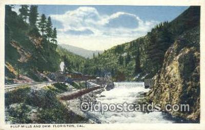trn001125 - Pulp mills And Dam, Floriston, California, CA USA Trains, Railroads Postcard Post Card Old Vintage Antique