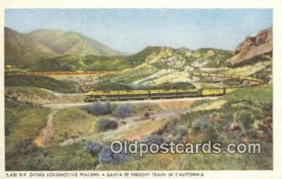 trn001137 - HP Locomotive Pulling A Santa Fe Train In California, CA USA Trains, Railroads Postcard Post Card Old Vintage Antique