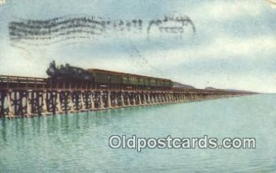 trn001146 - Lucin Cut Off, Great Salt Lake, Utah, UT USA Trains, Railroads Postcard Post Card Old Vintage Antique