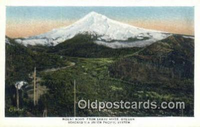 trn001175 - Mount Hood From Sandy River, Oregon, OR USA Trains, Railroads Postcard Post Card Old Vintage Antique