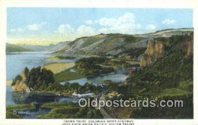 trn001176 - Crown Point Columbia River Highway, Union Pacific System, USA Trains, Railroads Postcard Post Card Old Vintage Antique