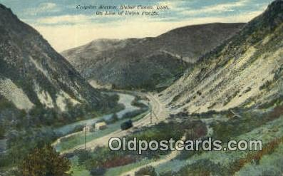 trn001180 - Crovdon Station, Weber Canon, Utah, UT USA Trains, Railroads Postcard Post Card Old Vintage Antique