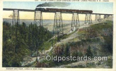 trn001182 - Steel Viaduct Over Lawyers Canyon, Camas Prairie Railroad, Idaho, ID USA Trains, Railroads Postcard Post Card Old Vintage Antique