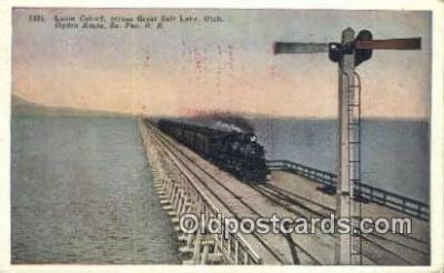 trn001190 - Ogden Lucin Cut Off, Salt Lake, Utah, UT USA Trains, Railroads Postcard Post Card Old Vintage Antique