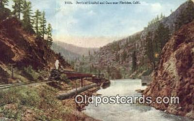 trn001193 - Overland Limited And Dam Over, Floriston, California, CA USA Trains, Railroads Postcard Post Card Old Vintage Antique