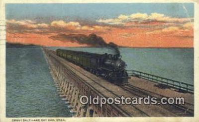 trn001203 - Great Salt Lake Cut Off, Utah, UT USA Trains, Railroads Postcard Post Card Old Vintage Antique