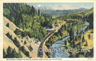 trn001208 - Sacramento River And Mount, Castella, California, CA USA Trains, Railroads Postcard Post Card Old Vintage Antique
