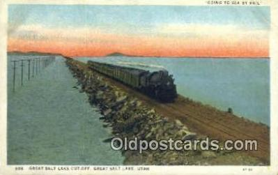 trn001214 - Great Salt Lake Cut Off, Great Salt Lake, Utah, UT USA Trains, Railroads Postcard Post Card Old Vintage Antique