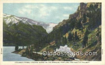 trn001262 - Columbia River Cascade Range, Spokane, Washington, WA USA Trains, Railroads Postcard Post Card Old Vintage Antique