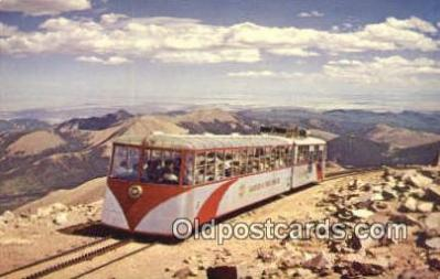 trn001279 - Cog Railroad Pikes Peak, Colorado, CO USA Trains, Railroads Postcard Post Card Old Vintage Antique
