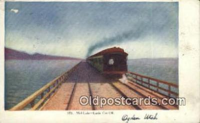 trn001372 - Mid Lake, Lucin Cut Off, Utah, UT USA Trains, Railroads Postcard Post Card Old Vintage Antique