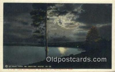 trn001385 - Lake Yellowstone By Moonlight Trains, Railroads Postcard Post Card Old Vintage Antique