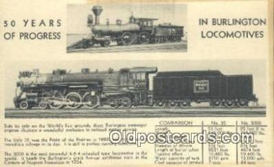 trn001391 - Burlington Locomotives Trains, Railroads Postcard Post Card Old Vintage Antique
