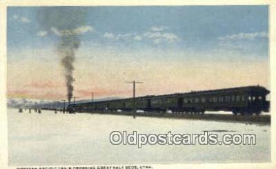 trn001425 - Western Pacific Train Crossing, Great Salt Lake, Utah, UT USA Trains, Railroads Postcard Post Card Old Vintage Antique