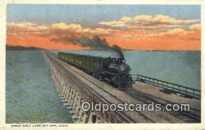 trn001444 - Great Salt Lake Cut Off, Utah, UT USA Trains, Railroads Postcard Post Card Old Vintage Antique