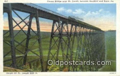 trn001448 - Kinzu Bridge, Mt Jewett, Kane, Pennsylvania, PA USA Trains, Railroads Postcard Post Card Old Vintage Antique
