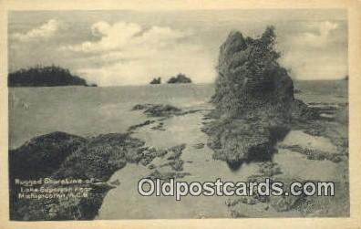 trn001454 - Rugged Shoreline, Lake Superior, Michigan, MI USA Trains, Railroads Postcard Post Card Old Vintage Antique