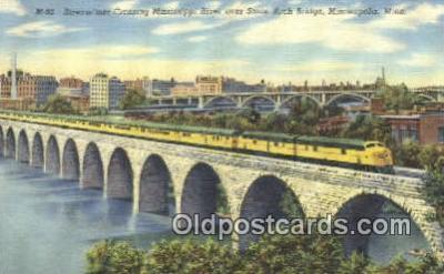 trn001455 - Streamliner Crossing Mississippi River, Minneapolis, Minnesota, MN USA Trains, Railroads Postcard Post Card Old Vintage Antique