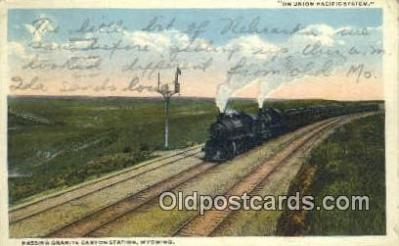 trn001461 - Granite Canyon Station, Wyoming, WY USA Trains, Railroads Postcard Post Card Old Vintage Antique
