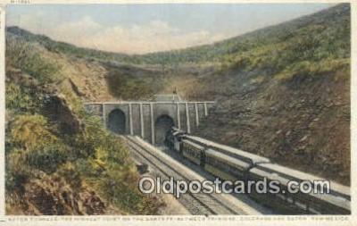 trn001471 - Raton Tunnels, Trinidad, Colorado, CO USA Trains, Railroads Postcard Post Card Old Vintage Antique