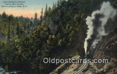 trn001492 - Long Tunnel, Feather River Canyon Trains, Railroads Postcard Post Card Old Vintage Antique