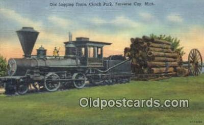 trn001523 - Old Logging Train, Clinch Park, Traverse City, Michigan, MI USA Trains, Railroads Postcard Post Card Old Vintage Antique