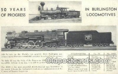 trn001528 - Burlington Locomotives Trains, Railroads Postcard Post Card Old Vintage Antique