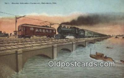 trn001545 - Greater Galveston Causeway, Galveston, Texas, TX USA Trains, Railroads Postcard Post Card Old Vintage Antique