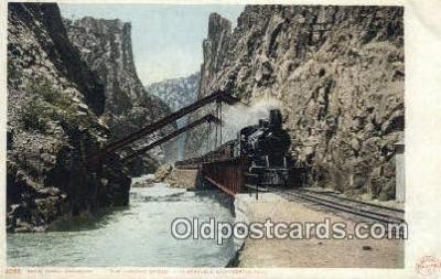 trn001551 - The Hanging Bridge, Royal Gorge, Colorado, CO USA Trains, Railroads Postcard Post Card Old Vintage Antique