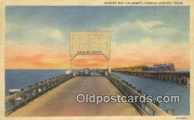 trn001558 - Nueces Bay Causeway, Corpus Christi, Texas, TX USA Trains, Railroads Postcard Post Card Old Vintage Antique