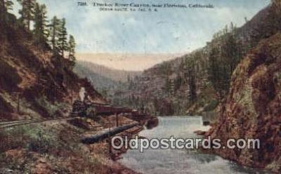 trn001562 - Truckee River Canyon, Floriston, California, CA USA Trains, Railroads Postcard Post Card Old Vintage Antique