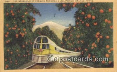 trn001563 - Streamliner, Through Orange Grove, California, CA USA Trains, Railroads Postcard Post Card Old Vintage Antique